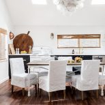 Combined Kitchen And Dining Room In This Chic Seaside Cottage