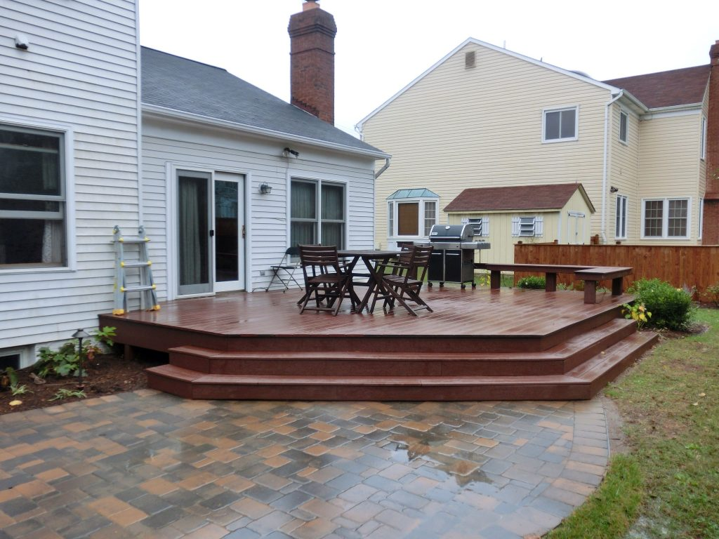Composite Deck With Paver Patio Decks In 2019 Paver Deck Patio