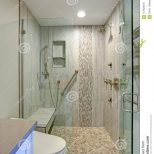 Contemporary Bathroom Design With Walk In Shower Stock Image
