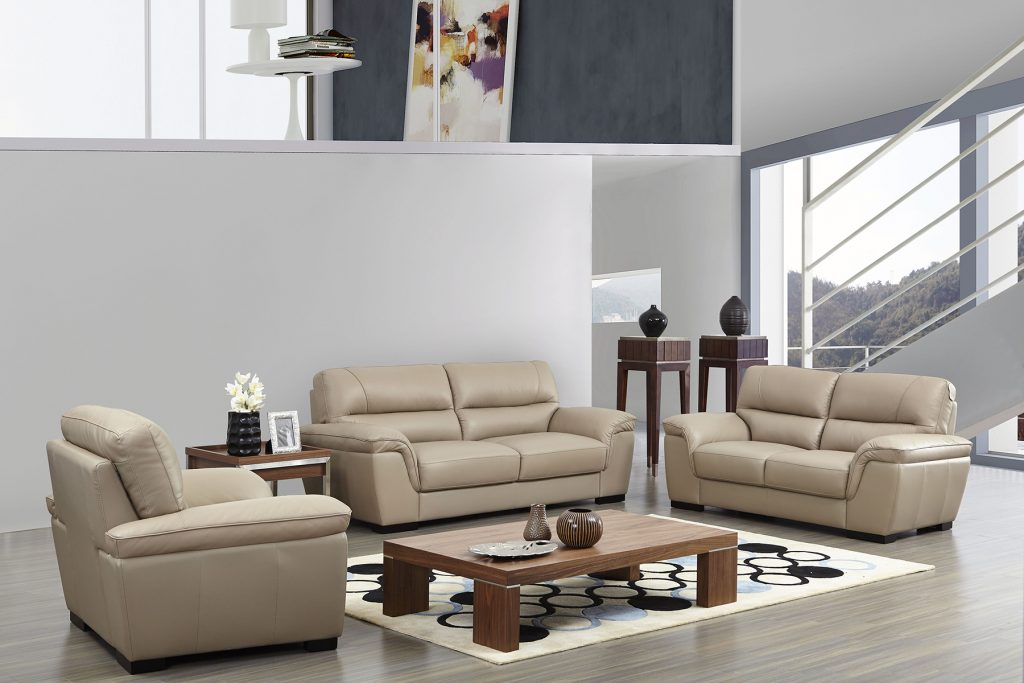 Contemporary Beige Leather Stylish Sofa Set With Wooden Legs