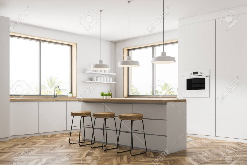 Corner Of Modern Kitchen With White Walls Wooden Floor Small
