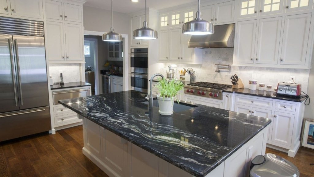 Cosmic Black Black Galaxy Granite Kitchen Countertops Kitchens