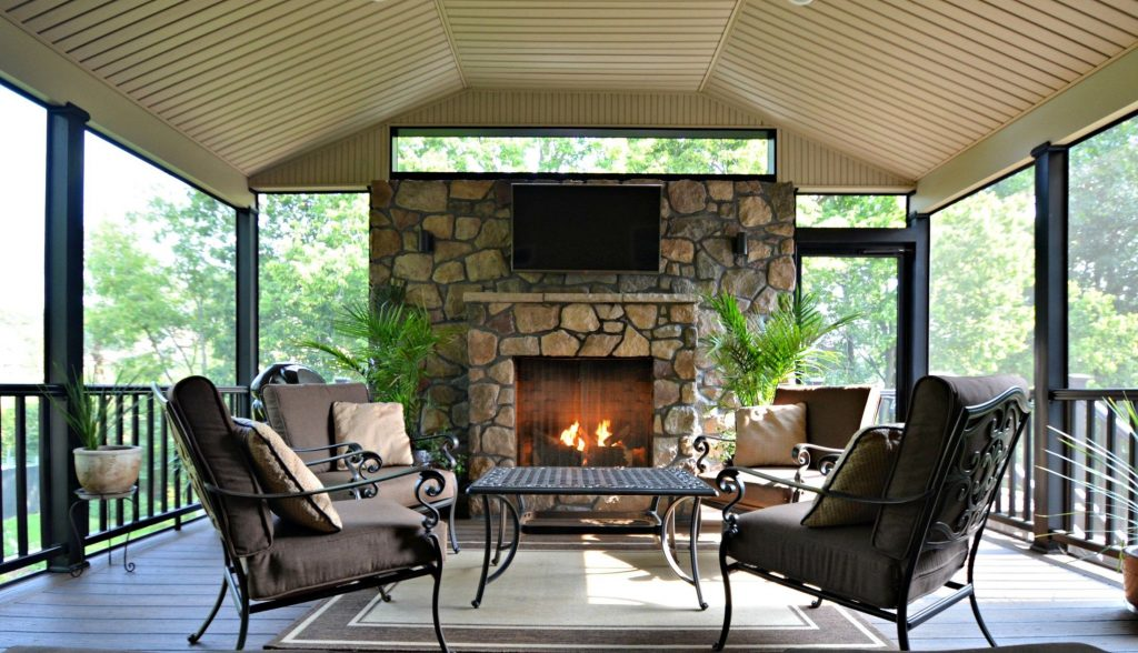 Custom Deck With Fireplace Wall Picture 1766 Decks