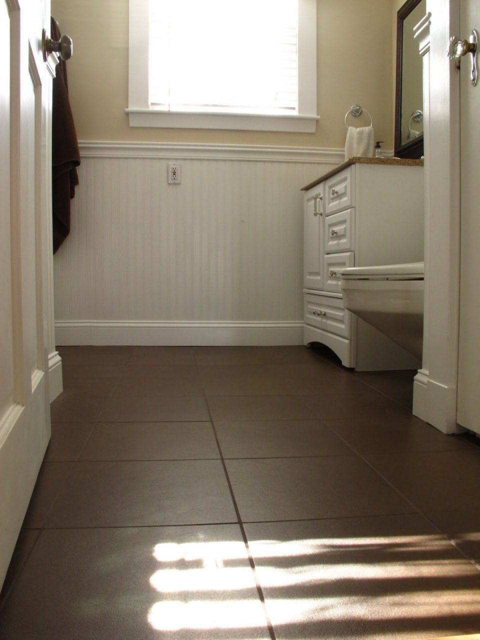 Dark Brown Tile In Bathroom Floor White Subway Tile In Spanish Tile