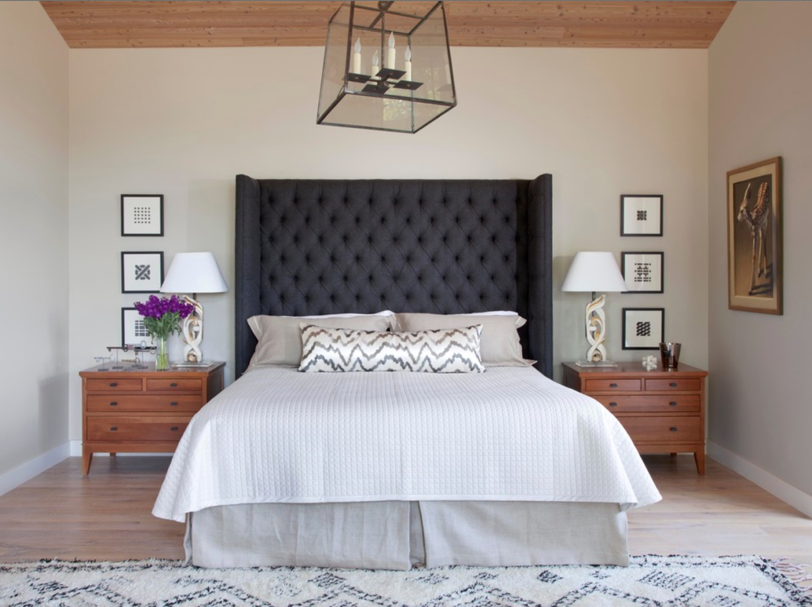 Dark Gray Grey Upholstered Headboard Tufted Linen Neutral Bed