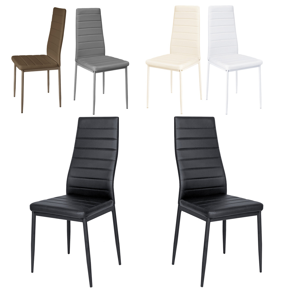 Details About 6x Faux Leather Black Slim Line Dining Room Chairs Kitchen High Back Furniture