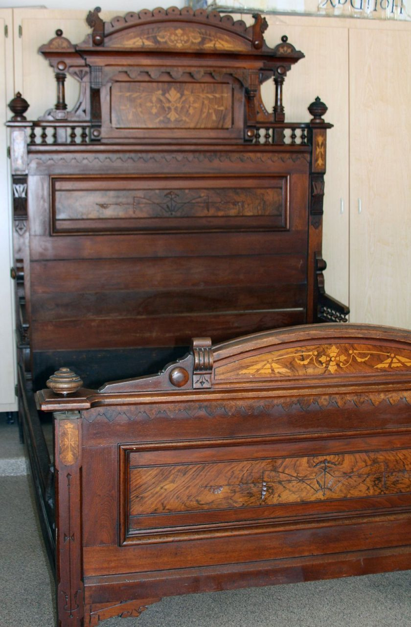Details About Antique Bed Eastlake Style Walnut Wburl Inlays 1800s