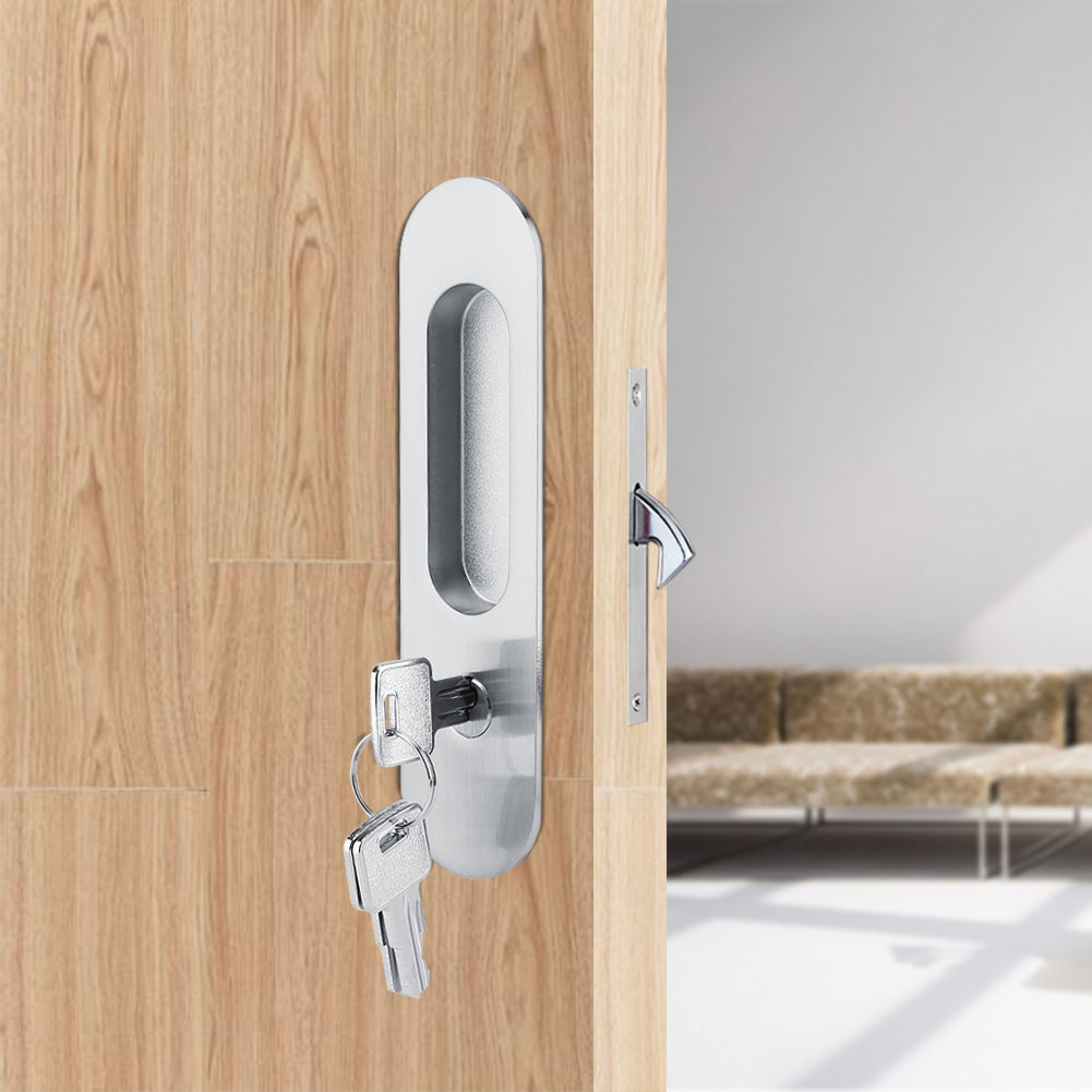 Details About Home Bathroom Sliding Door Lock Handle With Key For Barn Wood Furniture Hardware
