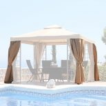 Details About Replacement Outer Curtains For Beige Outdoor Garden Suntime Deluxe Gazebo