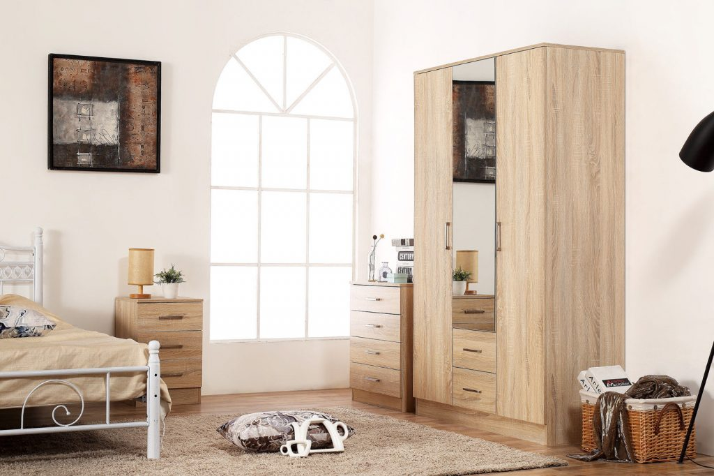 Details About Sonoma Oak Bedroom Furniture Set 3 Door Mirrored Wardrobe Chest Bedside