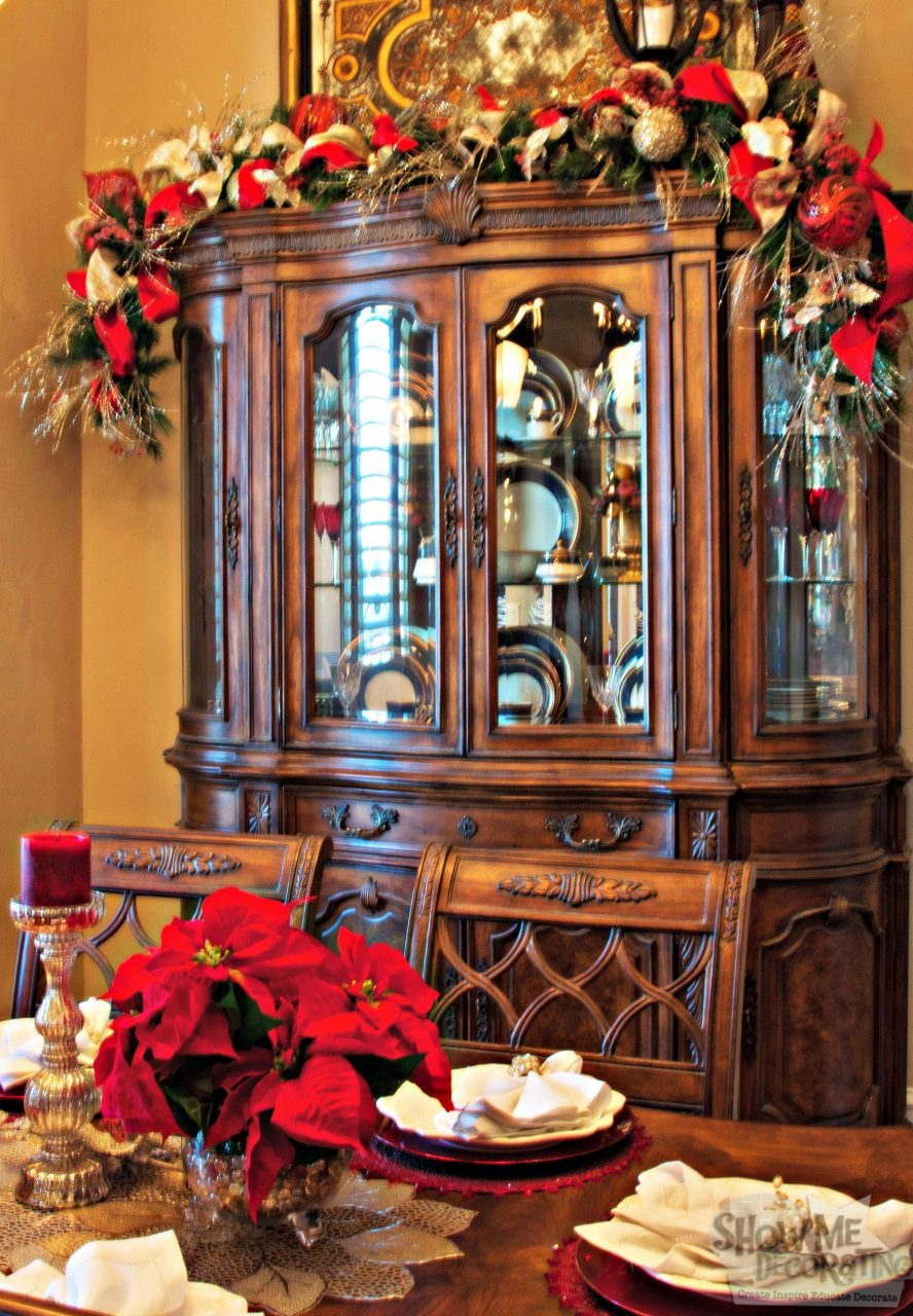 Dining Room Christmas Decor Hutch Garland Christmas Garland