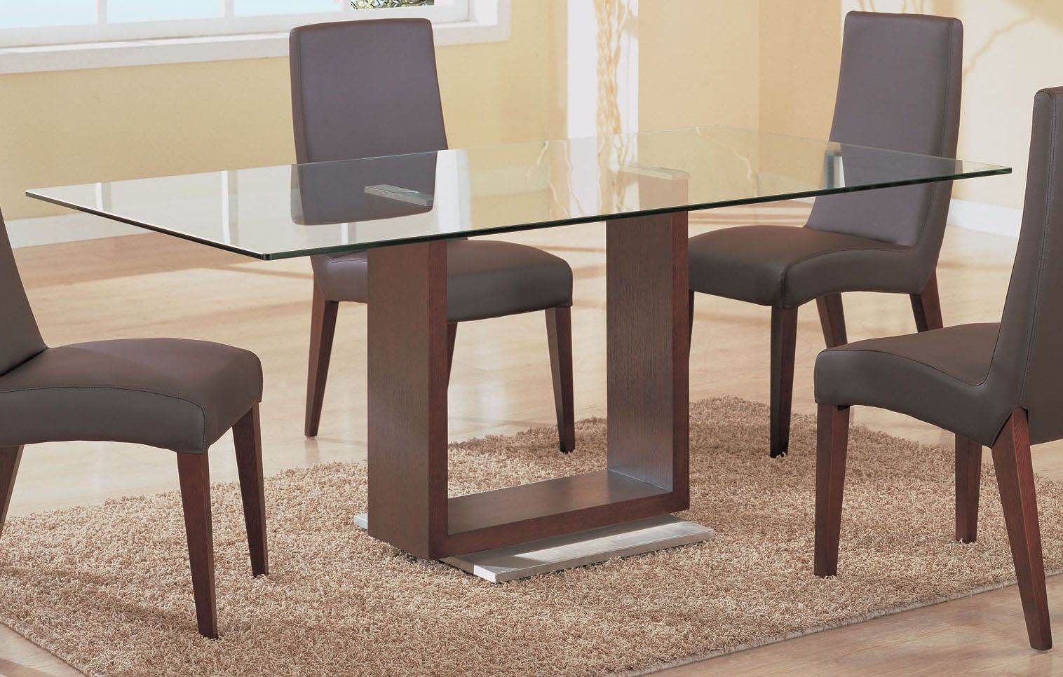 Dining Room Simple Rectangle Glass Top Tables With Wood Base Table Layjao