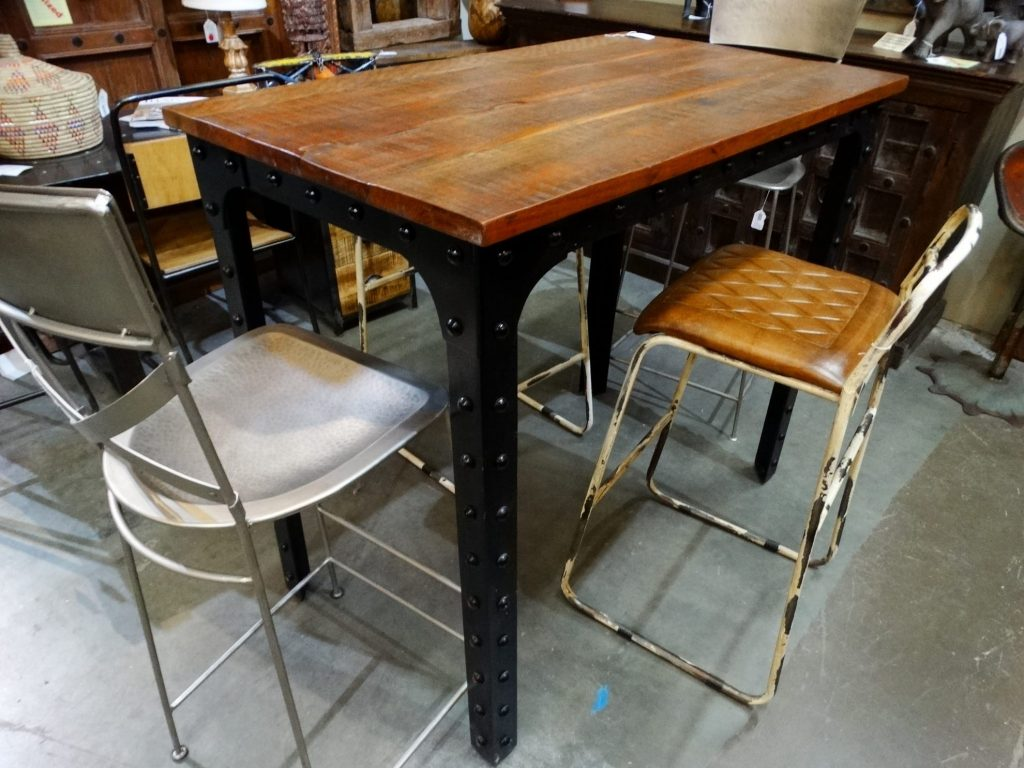 Dining Table Riveted Industrial Bar Height Table