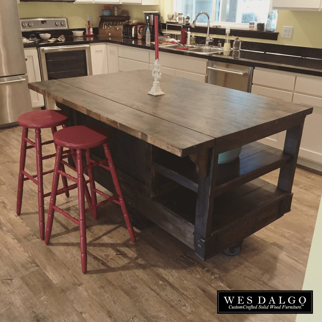Distressed Dark Wood Modern Rustic Kitchen Island Cart With