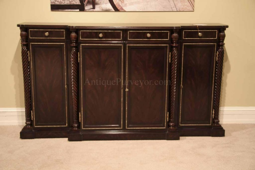 Ebonised Flame Mahogany Dining Room Buffet With Brass Stringing