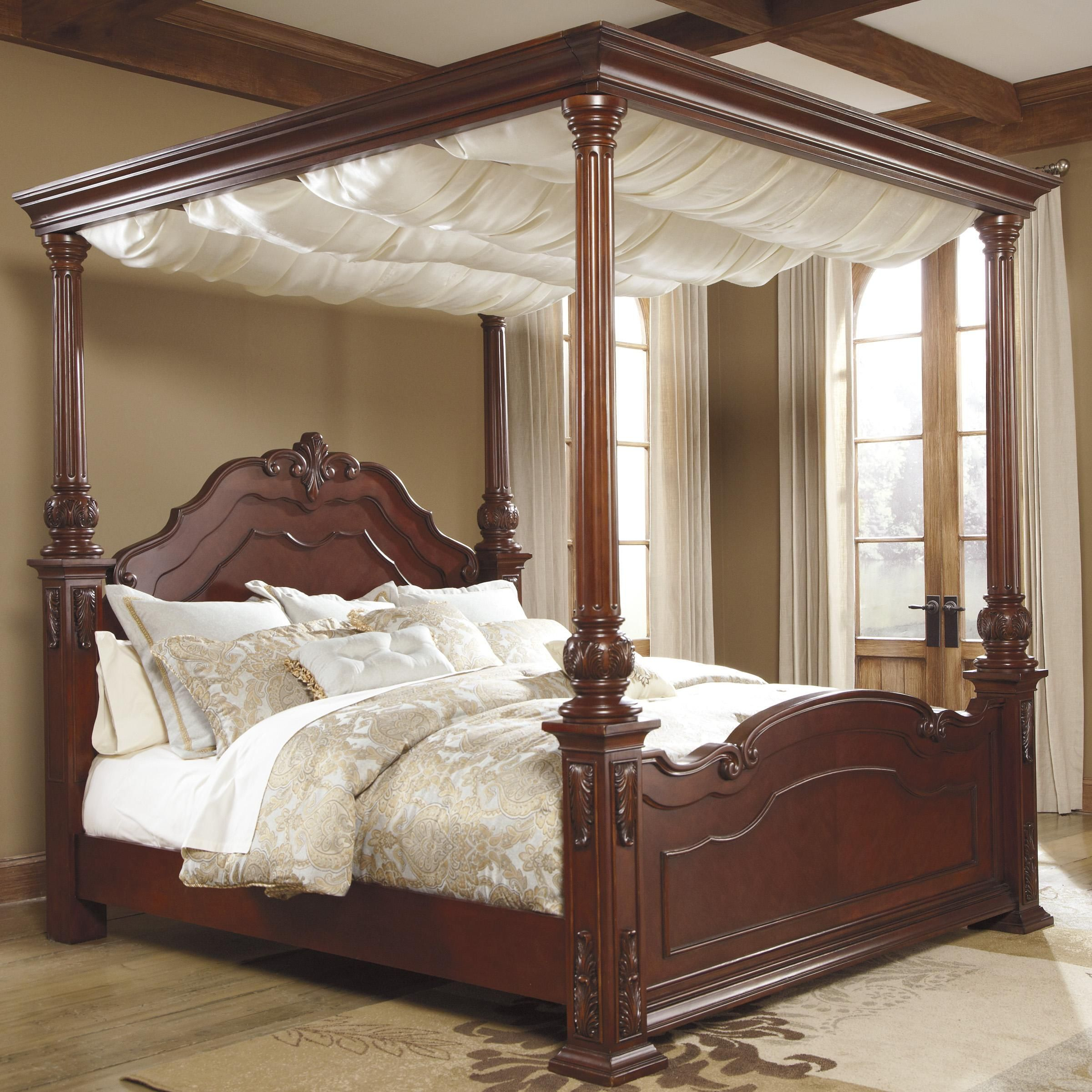 Elegant Canopy Bed Curtains King With Majestic Cream Color Sheer Layjao