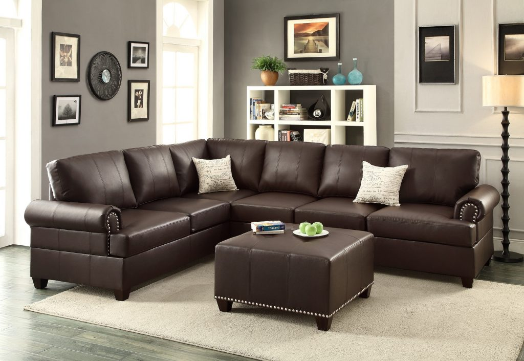 Espresso Leather Sectional Sofa Loveseat Wedge Hot Sectionals