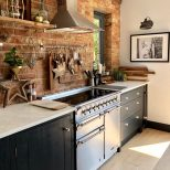 Exposed Brick Wall In Kitchen Blue Kitchen Modern Rustic Kitchen