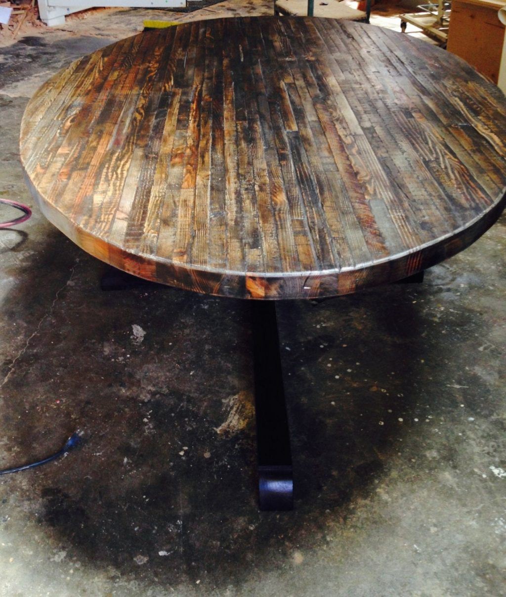Extra Large Custom Butcher Block Strip Oval Wood Dining Table From Reclaimed Wood