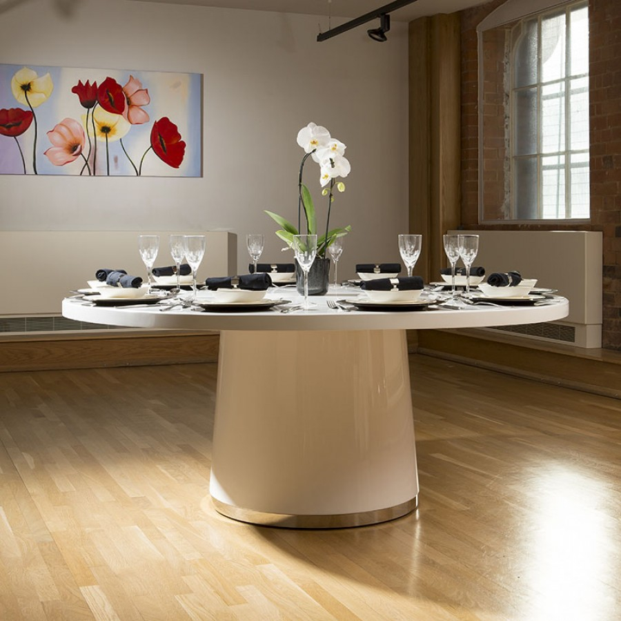 Extra Large Round Gloss White Corian Solid Surface Dining Table 18mtr