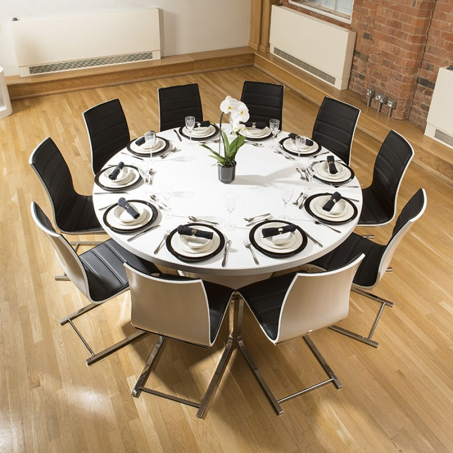 Extra Large Round White Corian Top Dining Table 10 Dining Chairs 278