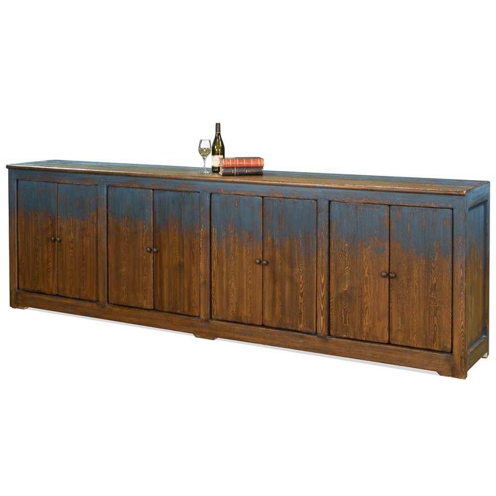 Extra Long Blue Painted Wood Buffet Belle Escape