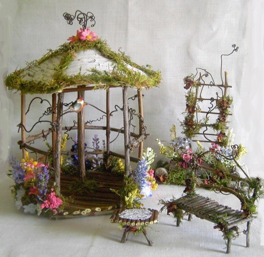 Fairy Garden Doll House Wood Twig Birch Gazebo W Flowers Robin