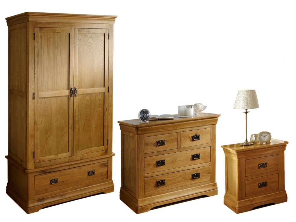 Farmhouse Oak Bedroom Furniture Set Double Wardrobe 2 Over 2 Chest 2 Drawer Bedside