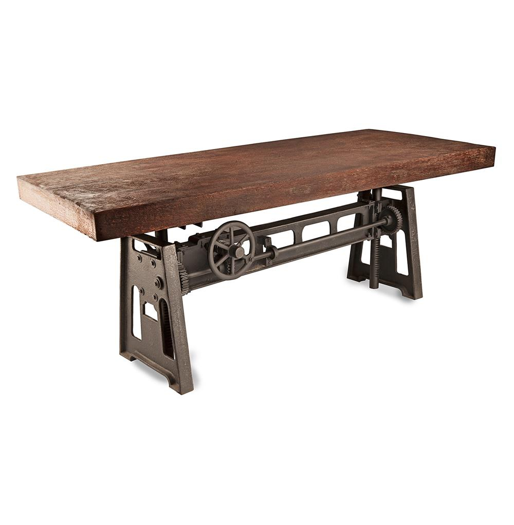 Gerrit Industrial Style Rustic Pine Iron Dining Table Dining Room