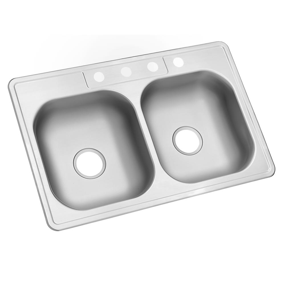 Glacier Bay Drop In Stainless Steel 33 In 4 Hole Double Bowl Kitchen Sink