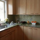 Green Glass Subway Tile With Maple Cabinets Kitchen In 2019