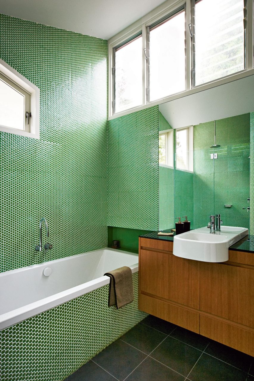 Green Penny Round Bathroom Tiles Makes This Renovation Stand Out