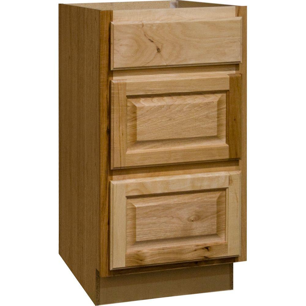 Hampton Assembled 18x345x24 In Drawer Base Kitchen Cabinet With Ball Bearing Drawer Glides In Natural Hickory