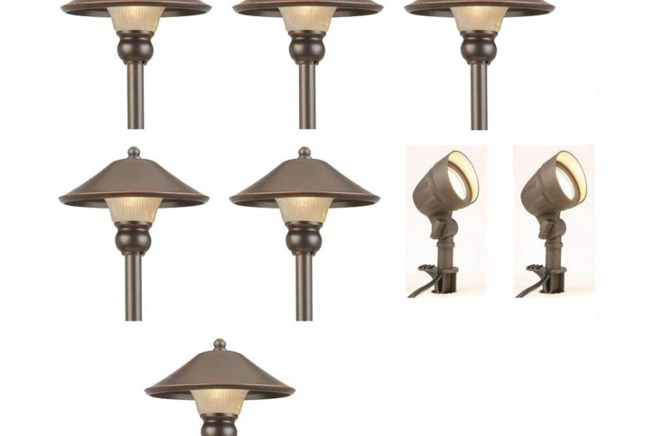 Hampton Bay Low Voltage Bronze Outdoor Integrated Led Landscape Path Light And Flood Light Kit 8 Pack