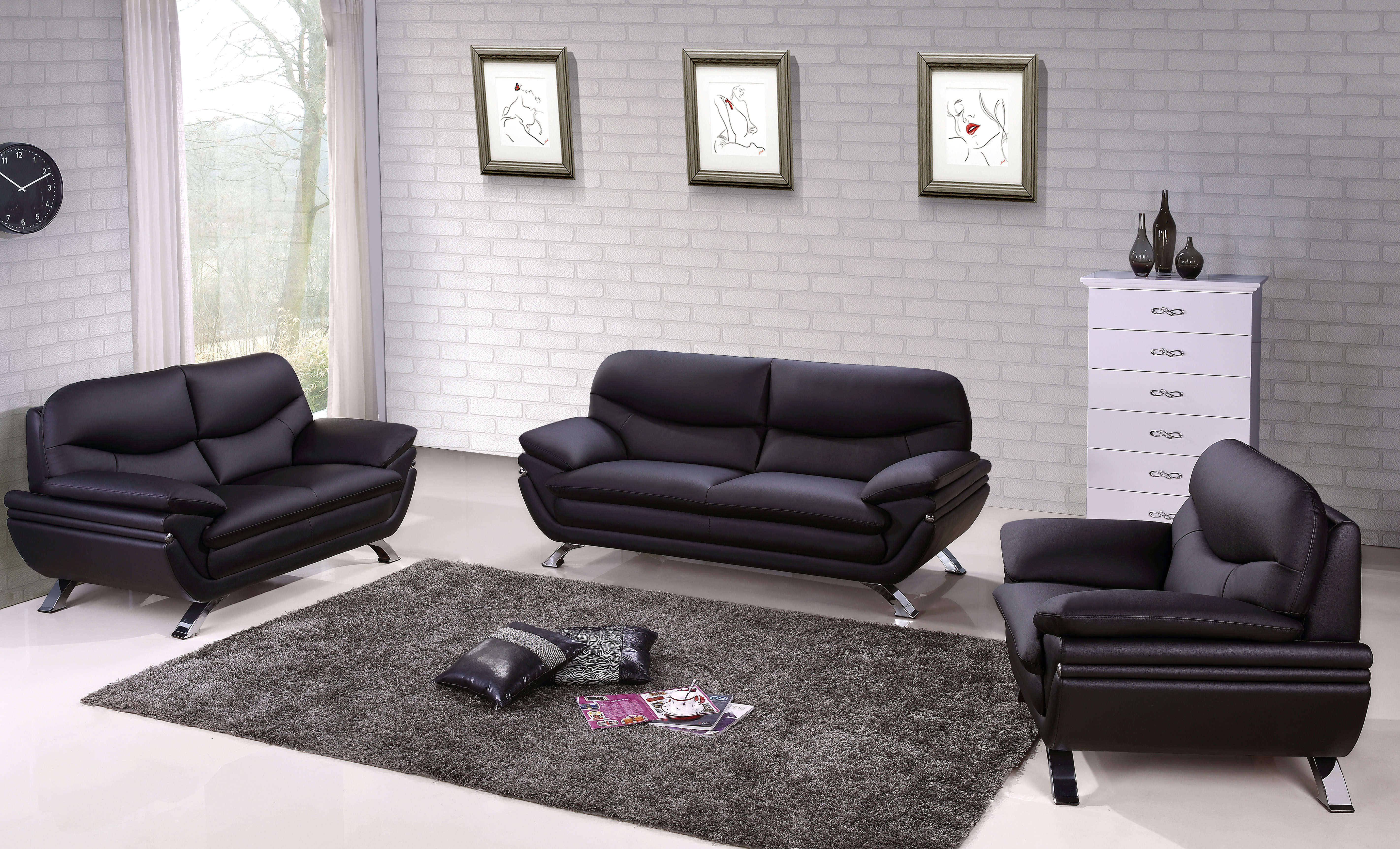 Harmony Ying Yang Contemporary Leather Living Room Sofa Set