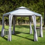 Hartman 35m Hexagonal Grey Gazebo With Curtains 68560691 Morale Garden Furniture