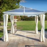 Hartman 3x3 Polycarbonate White Gazebo With Curtains 68559022 Morale Garden Furniture