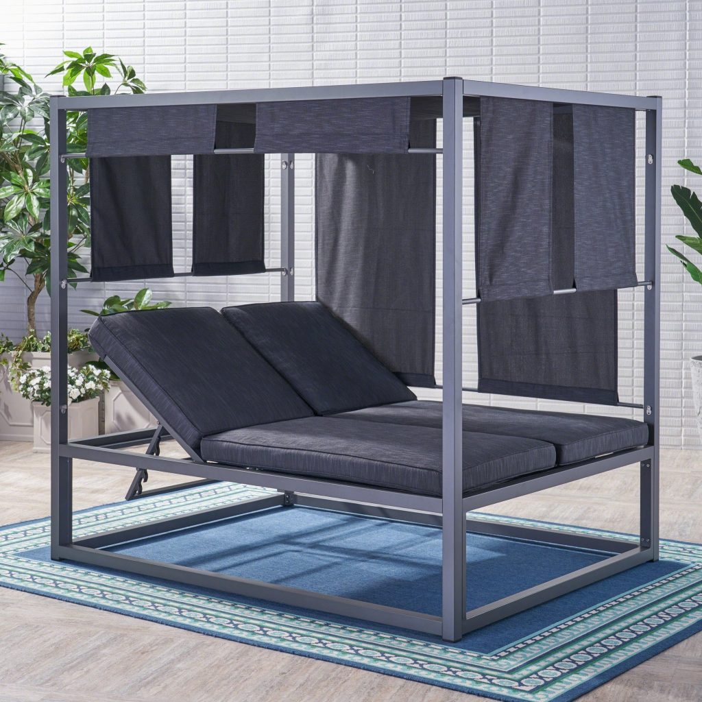 Heminger Outdoor Aluminum Daybed With Canopy Christopher Knight Home