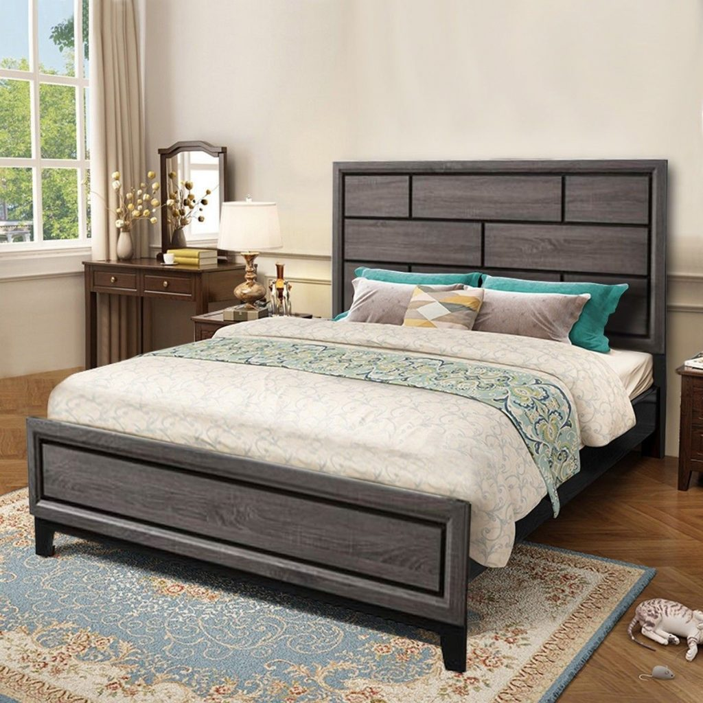 Home Furniture Tall Headboard Wood Bed Frame Furniture Wood