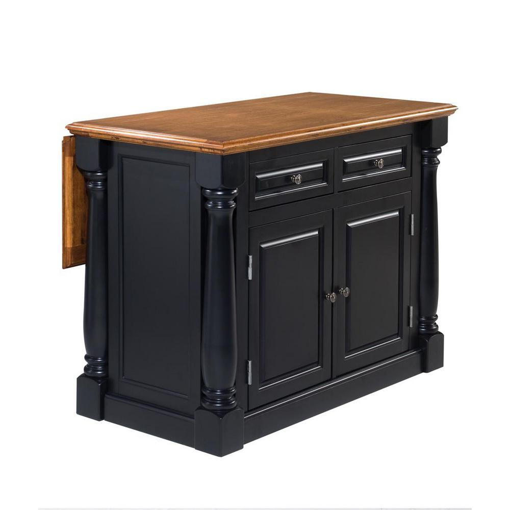 Home Styles Monarch Black And Oak Kitchen Island 5008 94 The Home