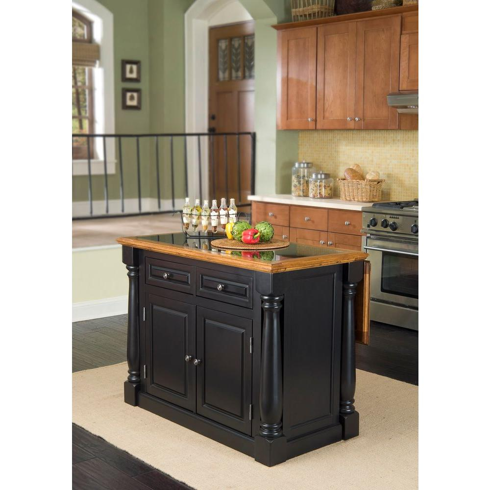 Home Styles Monarch Black Kitchen Island With Seating 5009 948 The