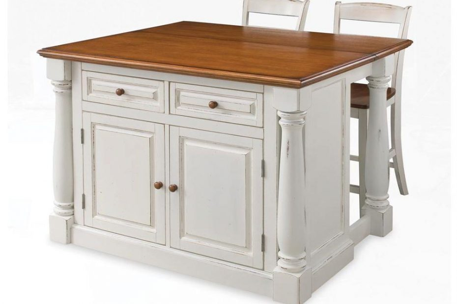 Home Styles Monarch White Kitchen Island With Seating 5020 948 The