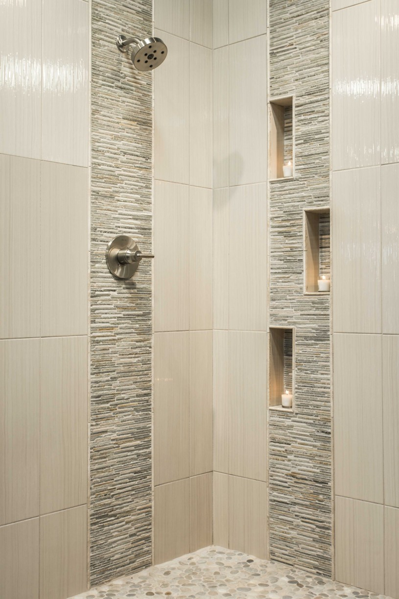 Ideas Captivating Tile Shower Designs With Creative Pebble Tile