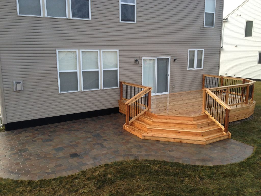 Ideas Collection Cedar Deck And Brick Paver Patio Brilliant Backyard