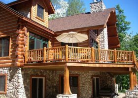 Cabin Log Home Decks Designs
