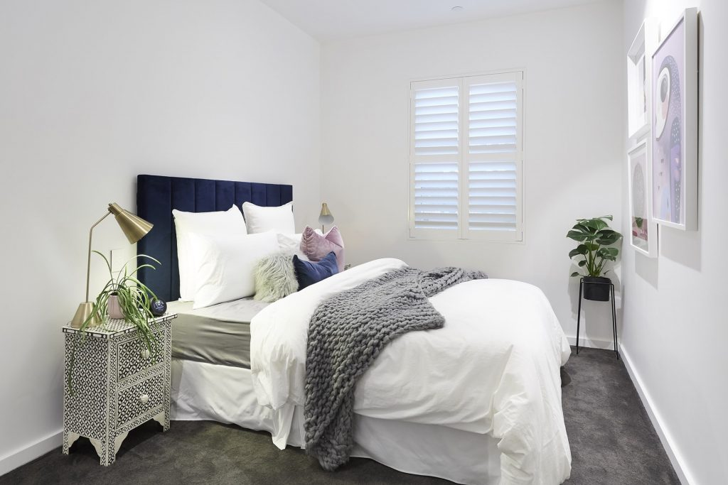 Inside The Block 2018 Guest Bedroom Reveal White Walls Grey Carpet
