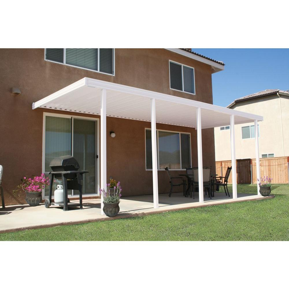 Integra 22 Ft X 10 Ft White Aluminum Attached Solid Patio Cover With 5 Posts 20 Lbs Live Load