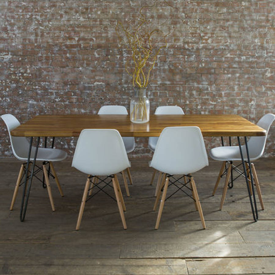 Iroko Midcentury Modern Hairpin Leg Dining Table