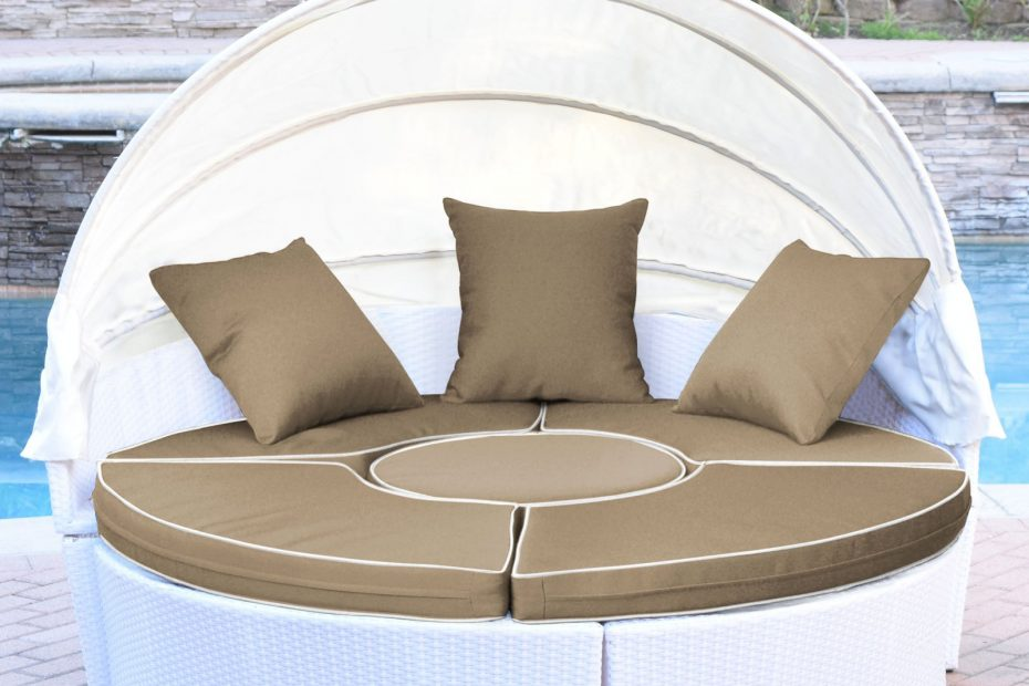Jeco All Weather Wicker Sectional Outdoor Daybed With Canopy