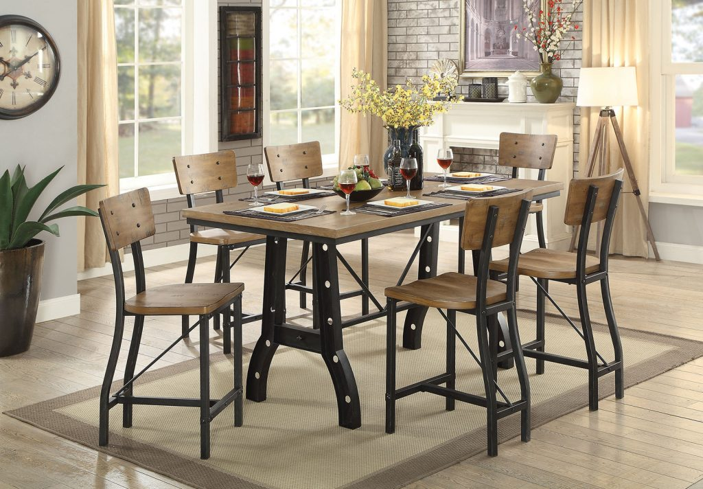 Kirstin Industrial Style Rustic Oak Finish 7pc Counter Height Dining Table Set